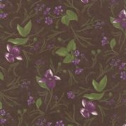 Moda Lady Slipper Lodge by Holly Taylor - 4017 - Flowers on Earth Brown - 6582 20 - Cotton Fabric
